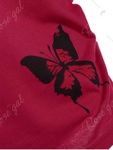 Fashion Butterfly Skew Neck Drop Shoulder Plus Size Top - 4XL RED Mobile