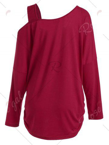 New Butterfly Skew Neck Drop Shoulder Plus Size Top - 5XL RED Mobile