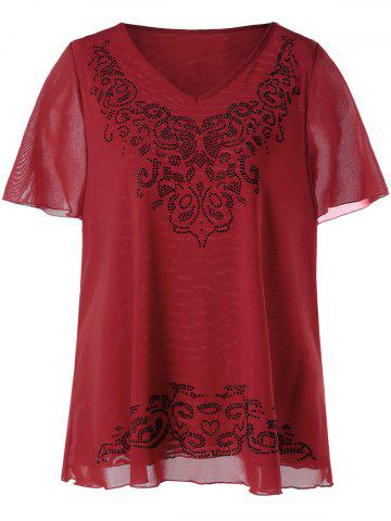 Fashion Plus Size V-neck Rhinestone Embellished Top - 2XL RED Mobile