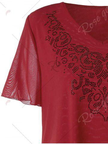 Chic Plus Size V-neck Rhinestone Embellished Top - 3XL RED Mobile