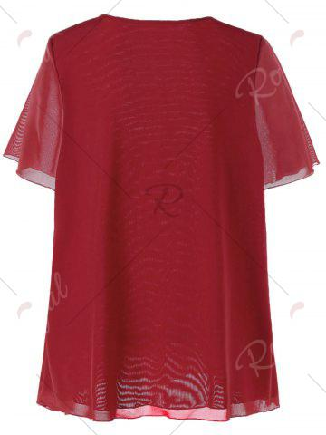 Discount Plus Size V-neck Rhinestone Embellished Top - 5XL RED Mobile