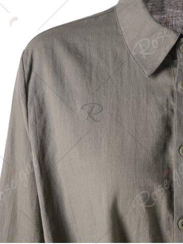 Fancy Adjustable Sleeve Knot Front Longline Shirt - M FLAX Mobile