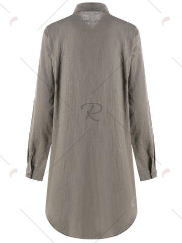 Fancy Adjustable Sleeve Knot Front Longline Shirt - L FLAX Mobile