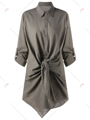 Fancy Adjustable Sleeve Knot Front Longline Shirt - XL FLAX Mobile