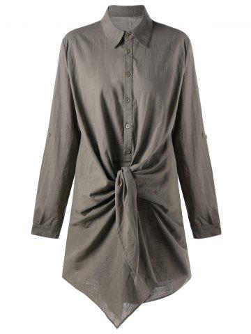 Adjustable Sleeve Knot Front Longline Shirt - Flax - 2xl