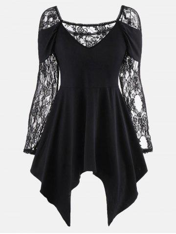 Long Lace Sleeve Handkerchief Tunic Top - Black - 2xl
