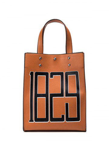 Discount Figure Print Studded Tote Bag