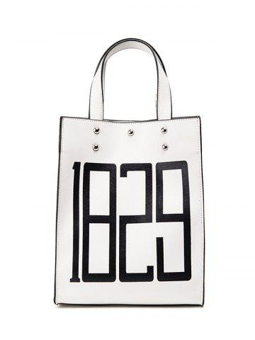 New Figure Print Studded Tote Bag - WHITE  Mobile