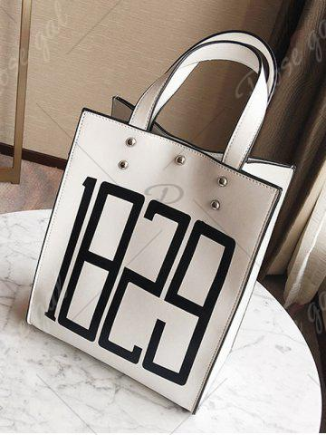 Chic Figure Print Studded Tote Bag - WHITE  Mobile