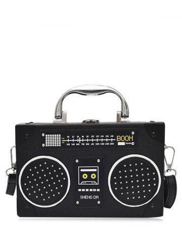 Shop Radio Shaped Faux Leather Crossbody Bag BLACK
