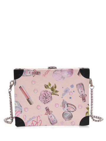 Floral Print Faux Leather Crossbody Bag - Light Pink - 6xl