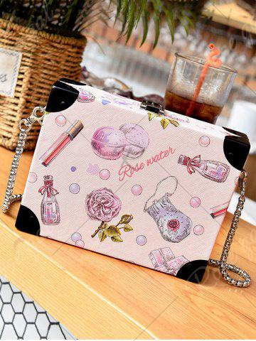 Fancy Floral Print Faux Leather Crossbody Bag - LIGHT PINK  Mobile