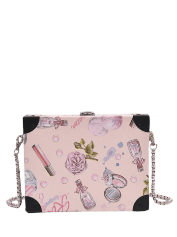 Cheap Floral Print Faux Leather Crossbody Bag - LIGHT PINK  Mobile