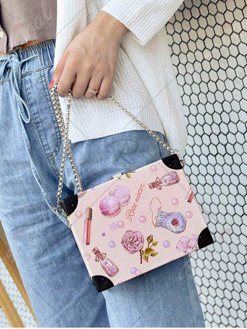 Outfit Floral Print Faux Leather Crossbody Bag - LIGHT PINK  Mobile