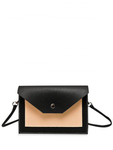 Flapped Color Blocking Cross Body Bag - Black - 40