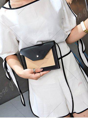 Store Flapped Color Blocking Cross Body Bag - BLACK  Mobile