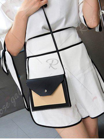 Unique Flapped Color Blocking Cross Body Bag - BLACK  Mobile