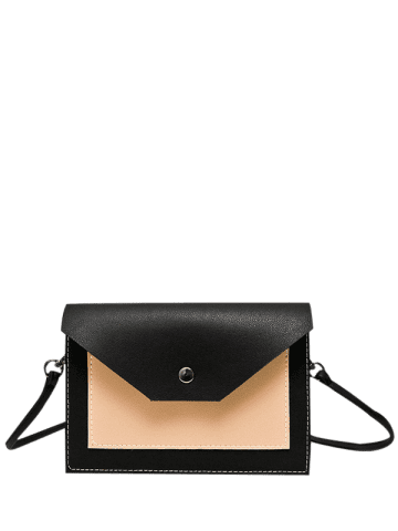 Shop Flapped Color Blocking Cross Body Bag - BLACK  Mobile