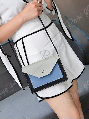 Unique Flapped Color Blocking Cross Body Bag - GRAY  Mobile
