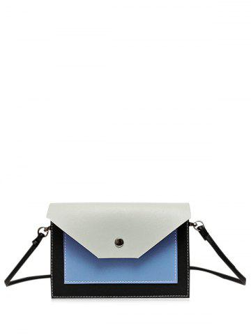 Shop Flapped Color Blocking Cross Body Bag - GRAY  Mobile