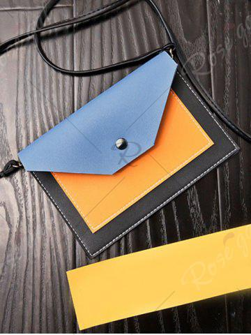 Outfit Flapped Color Blocking Cross Body Bag - BLUE  Mobile