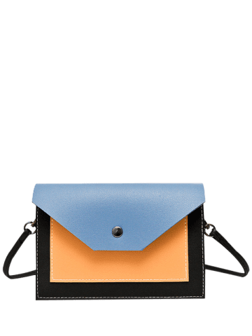 Shops Flapped Color Blocking Cross Body Bag - BLUE  Mobile