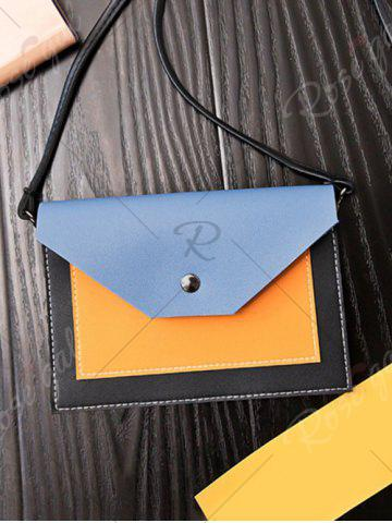 Best Flapped Color Blocking Cross Body Bag - BLUE  Mobile