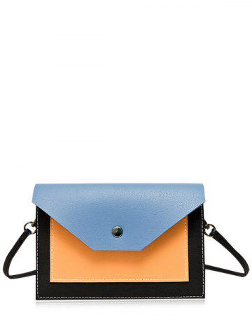 Unique Flapped Color Blocking Cross Body Bag - BLUE  Mobile