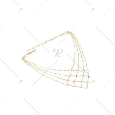 Hot Rhinestone Statement Geometric Chain Necklace - GOLDEN  Mobile