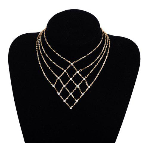 New Rhinestone Statement Geometric Chain Necklace - GOLDEN  Mobile