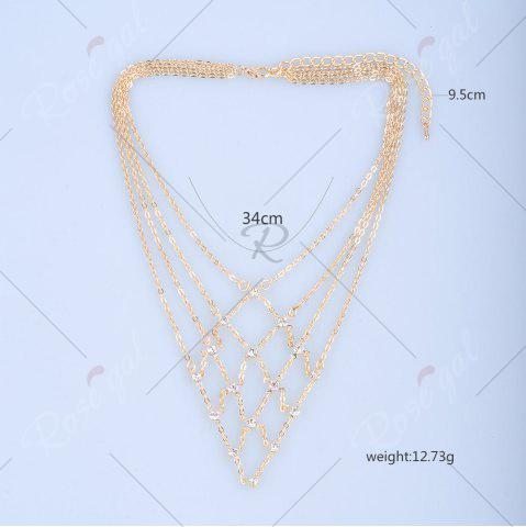 Best Rhinestone Statement Geometric Chain Necklace - GOLDEN  Mobile
