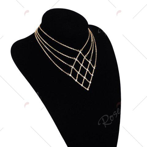 Buy Rhinestone Statement Geometric Chain Necklace - GOLDEN  Mobile
