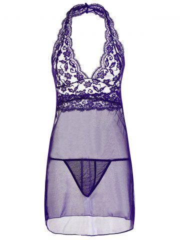 Lace Sheer Halter Backless Babydoll Pourpre 2XL