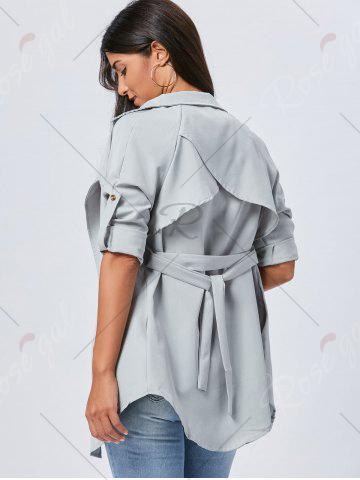 Fancy Lapel Long Wrap Coat - XL GRAY Mobile