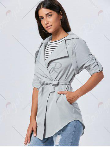 Cheap Lapel Long Wrap Coat - XL GRAY Mobile