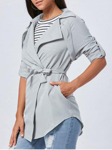 Buy Lapel Long Wrap Coat - XL GRAY Mobile