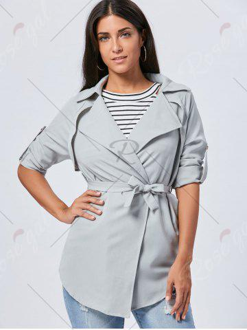 Hot Lapel Long Wrap Coat - XL GRAY Mobile