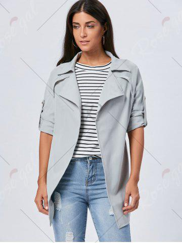 Fashion Lapel Long Wrap Coat - XL GRAY Mobile