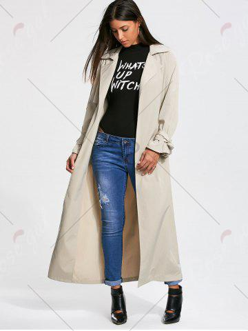Cheap Belted Maxi Wrap Trench Coat - L OFF-WHITE Mobile
