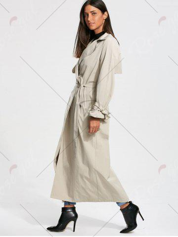 Trendy Belted Maxi Wrap Trench Coat - L OFF-WHITE Mobile