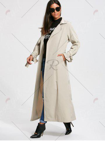 Chic Belted Maxi Wrap Trench Coat - 2XL OFF-WHITE Mobile