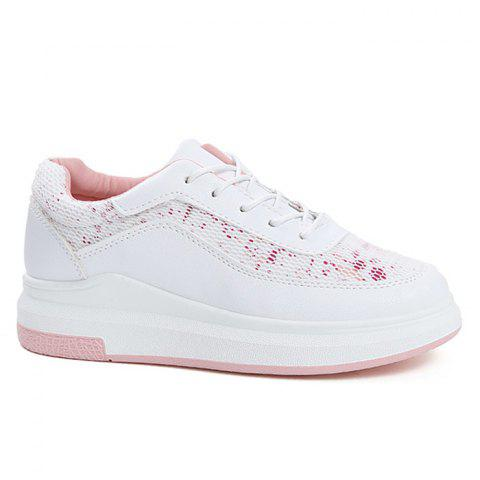 Shop Mesh Printed Breathable Athletic Shoes PINK 37