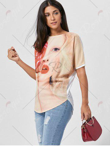 Best Batwing Sleeve 3D Print Tunic Top - M LIGHT YELLOW Mobile