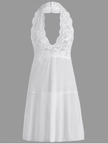 Lace Sheer Halter Backless Babydoll - White - M