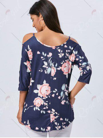 Unique Cold Shoulder Floral Cut Out T-shirt - 2XL CADETBLUE Mobile