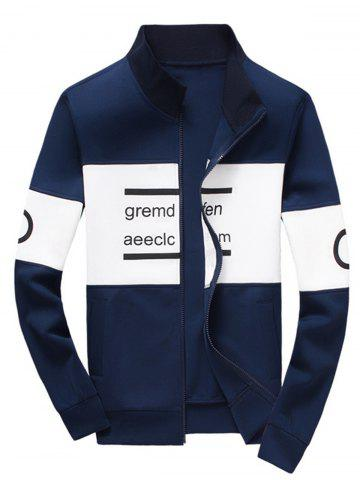 Zip Up Graphic Jacket Bleu 4XL