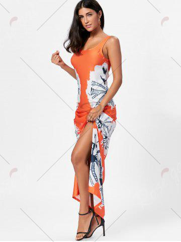 Store Floor Length Slit Tie Dye Tank Dress - XL MANDARIN Mobile