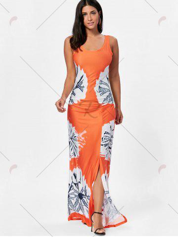 Sale Floor Length Slit Tie Dye Tank Dress - XL MANDARIN Mobile