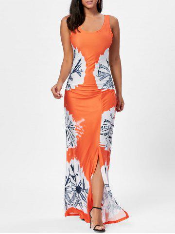 Shops Floor Length Slit Tie Dye Tank Dress - XL MANDARIN Mobile