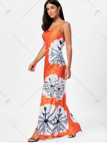 New Floor Length Slit Tie Dye Tank Dress - XL MANDARIN Mobile
